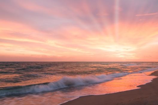 Tropical beach at beautiful sunset.