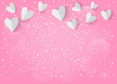 White paper 3d heart on pink background. Vector EPS10.